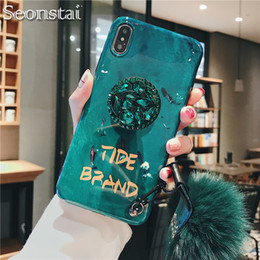 Note Hair Australia - Glitter DIY Fur Hair Ball+Crystal Bracket+Strap Phone Case For Samsung S10 S9 Plus Note 9 A10 A50 A70 For iphone 6 6s 7 8 Plus XS MAX XR