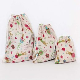 candy door gift UK - Handwork Cotton Linen Drawstring Bags Makeup Storage Bags Souvenir Gift Grocery Cartoon Home Housekeeping Make Up Jewelry Case Purse