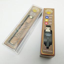 Vape battery pens online shopping - 900mah Brass Knuckles Vape Pen Battery with USB Charger Gold Wooden Preheating Voltage Adjustable Thread Oil Cartridge Batteries