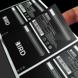 Sonderanfertigung Schwarzer Druck auf wasserdichtem und reißfestem Etikettenaufkleber aus mattem Silber-Vinyl, Art.-Nr. CU70