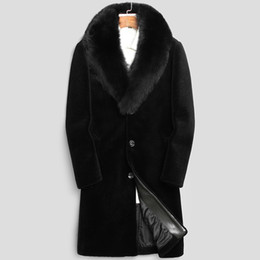 Wholesale mens shearling coats resale online - 100 Wool Coat Winter Jacket Men Real Sheep Shearling Fur Long Coats Mens Fur Collar Warm Jackets xl Chaqueta Hombre MY1612