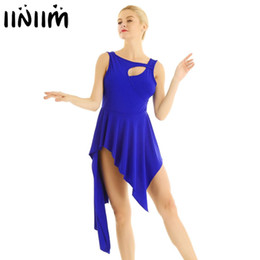 clubwear dresses cut outs UK - Womens Adult Professional Lyrical Dance Costumes Cut out Chest High Low Dance Leotard Dress Gymnastic Exercise Clubwear