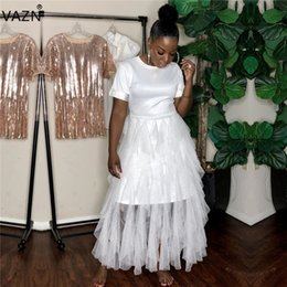 short sleeve white maxi dress Australia - VAZN YD8109 Young Lady Of Note Sexy Fashion White Round Neck Short Sleeve High Waist Women Vacation Lace Ball Gown Maxi Dress