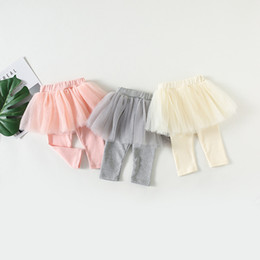 Pink Baby Tutu Australia - 2018 Autumn Fashion Baby Girl Culottes Leggings Gauze Pants Party Skirts 5 Layers Mesh Tutu Skirts Gray Pink Beige Wholesale