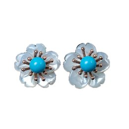 $enCountryForm.capitalKeyWord Australia - Sterling S925 Silver Shell flower Turquoise Flower Stud Earrings For women
