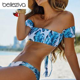 $enCountryForm.capitalKeyWord Australia - Belleziva 6 Colors Sexy Bandage Lace Up Bikini Set Swimsuit Women Beach Off The Shoulder Swimwear Bathing Suit Maillot De Bain