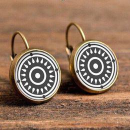 Stainless Steel Flowers Australia - 2019 new fashion stainless steel earrings Bohemian earrings Mandala flower ear hook time gemstone jewelry French hook earrings wholesale