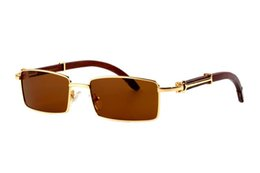 3fdb33ead75 Metal Square Sunglasses Optical Spectacle Frame Buffalo Horn Rimless Clear  Eyeglasses High End Driving Eyewear Sports Shooting Glasses C49