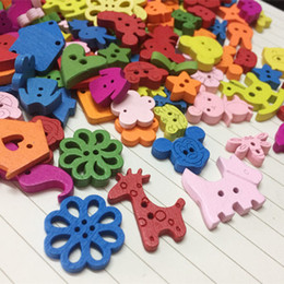 wooden buttons accessories Australia - New small cartoon colorful wooden Buttons for crafts DIY star animal letter sewing supply scrapbooking accessories decorativos mixed color