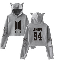 pink hoodies for boys Australia - Fashion- Cropped Hoodie Kpop bangtan boys Sweatshirt Cat Hooded Pullover girls clothes Crop Tops hoodies and sweatshirts for women