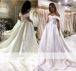 Off white dress red lining online shopping - Elegant Satin A Line Wedding Dresses Off The Shoulder Long Formal Bridal Gowns Lace Appliques Sweep Train Robe de mariee