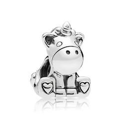 Silver unicorn charm online shopping - 925 silver charm for Pandora bracelet original beads sweet bruno unicorn charm beads female DIY bracelet and bracelet jewelry