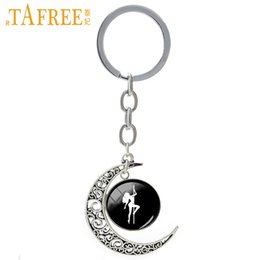 pole for dance Australia - TAFREE Pole Dance Silhouette Keychain Hot Sale Personalized Key Chain For Keys Moon Shape Men Woman Key Ring Gift Jewelry T489
