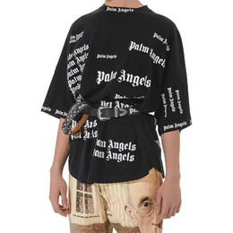 oversized long t shirts UK - Palm Angels T-shirt Men Women Letter Print Short Sleeve Oversized Tee Palm Angels Hip Hop Black Tee Club Tops Streetwear SHH1208