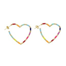 $enCountryForm.capitalKeyWord UK - New 2019 Fashion light colorful enamel Hollow Peach Heart hoop Earring gold filled delicate Simple women Jewelry party love gift