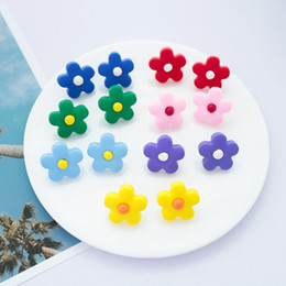 Clay flowers for jewelry online shopping - Fashion polymer clay flower earrings for women cute stainless steel needle stud earrings candy color party jewelry