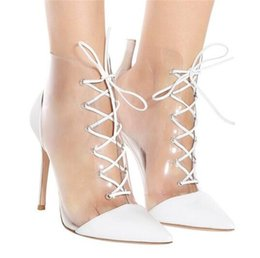 $enCountryForm.capitalKeyWord NZ - Brand Design Women Fashion Pointed Toe PVC Stiletto Heel Short Boots Lace-up Transparent Red White Silver High Heel Ankle Booties