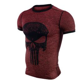 Superhero Shirts Wholesale Australia - Cool Fitness Compression Shirt Men Punisher Skull T Shirt Superhero Bodybuilding Tight Short Sleeve T Shirt Brand Clothing Tops