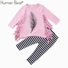 $enCountryForm.capitalKeyWord UK - wholesale Baby Girls Clothing 2019 New Autunm Sets Children Clothing tassels Design T-shirts+stripe Pants Girls Clothes