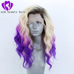 ombre loose wave synthetic wig NZ - 13x4 Synthetic Lace Front Wigs 180% Pre Plucked Glueless Peruvian Loose Wave Wig Bleached Knots ombre wig For Women