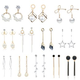 $enCountryForm.capitalKeyWord Australia - Simple Style Minimalist Jewelry Crystal Rhinestone Pearl Drop Earrings For Women Bow-knot Long Earrings Korean Temperament