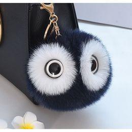 $enCountryForm.capitalKeyWord Australia - New Creative Big Eyes Imitation Rex Rabbit Hair Ball Key Chain Cute Cartoon Panda Pompom Keychain Women Car Bag Keycover Owl Key Rings