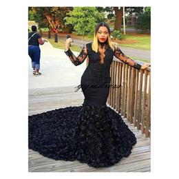 Sheer Black Dress Australia - African Black Mermaid Prom Dresses Sheer Neckline Appliques Long Sleeves 3 D Rose Flowers Evening Dress Sweep Train Formal Party Gowns