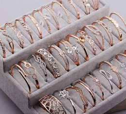 Gold silver mix chain online shopping - 10pcs Mix Style Gold Plated Crystal Rhinestone Bracelets For DIY Fashion Jewelry Gfit CR016
