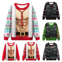 ugly christmas sweaters men Canada - Funny Ugly Christmas Sweater Santa Claus Print Loose Sweter Men Women Pullover Christmas Novelty Autumn Winter Top