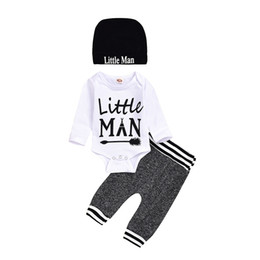 little man baby clothes UK - Baby Boy Clothes Set Romper + Pants + Hat Long Sleeves 3 Pcs Lot Little Man Infant New Toddler