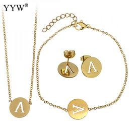 Necklaces Pendants Australia - 26 Letters Stainless Steel Jewelry Set Gold Color Alphabet Letter Pendants Necklace Bracelet Earrings Jewelry Set Women Men Gift