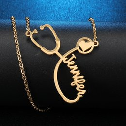 $enCountryForm.capitalKeyWord Australia - Custom Name Necklace Stethoscope Engraved Necklace Men Chain Gold Nurse Pendants Customized Gift Personalized Name Erkek Kolye