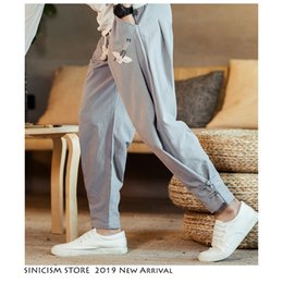 mens fashion linen pants 2019 - Sinicism Store Men Streetwear Male Joggers 2019 Harem Casual hip hop Embroidery Track SweatPants Linen Mens Pants Fashio