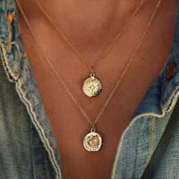 Latest Collection Of Wholesale Sun Flower Round Coin Pendant Necklaces For Women Rainbow Cz Disc Engrave Star Starburst Geometric Trendy Jewelry Gift Fixing Prices According To Quality Of Products Chain Necklaces Necklaces & Pendants