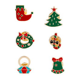 Personality brooches online shopping - Christmas hat Christmas tree Red sock Diamond ring Bell Christmas ornament Personality Ornament Brooch Lapel Ornament Combination