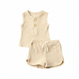 knitting baby vest UK - 2020 2020 Newborn Toddler Baby Boy Girl Clothes Summer Outfit Clothes Vest Top T Shirt Shorts Knitted Sleeveless Sets YiRf#