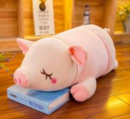 Toy Doll Blankets Australia - New Squishy Pig Stuffed toys Doll 60cm Plush Piggy Toy Pink khaki Animals Soft Plushie Hand Warmer Blanket Kids Comforting Gift