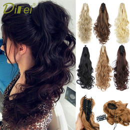 Hair Extensions Tail Australia - DIFEI Synthetic Women Claw on Ponytail Clip in Hair Extensions Curly Style Pony Tail Hairpiece Black Brown Blonde Hairstyles