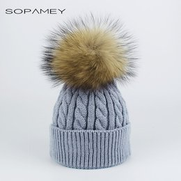 982707c244a484 Winter Children Acrylic Solid Knitted Casual Cap Removable Baby Real  Raccoon Fur Pompom Beanies Warm Ski Hat kids Skullies