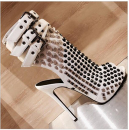 studs sandals Australia - Hot Sale- New Punk Style Rivets Stud Gladiator Sandals Combat Summer Boots Thin High Heels Fahion Women Shoes Open Toe Buckle Ankle Boots