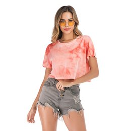 T Shirts Models Australia - European and American printing and dyeing short-sleeved T-shirt female summer explosion models short loose versatile shirt
