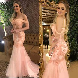 pink tulle strapped dress Australia - Sexy Pearl Pink Lace Appliqued Spaghetti Strap Mermaid Evening Dresses With Tulle Sweep Train Off the Shoulder Special Occasion Dresses