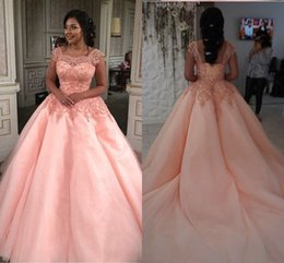 gold sequin prom dress short Australia - Wonderful Coral Pink Quinceanera Ball Gown Prom Dresses Square Neck Short Sleeves Tulle Applique Lace Beading Sequins Corset Back Formal