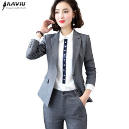silver pant suits women NZ - 2019 New Autumn winter pants suits women interview formal temperament fashion business blazer and pants office ladies work wear