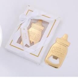Discount bottles for baby shower - DHL Gold Feeding Bottle Opener Baby Shower Favor for Guest Wedding Favors Baby Shower Decor Party Favors Gift Supplies