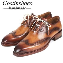 Handmade Brogue Men Shoe Australia - GOSTINSHOES HANDMADE Goodyear Welted Men's Formal Dress Brogues Shoes Brown Genuine Leather Pointed Toe Lace-up for Wedding Shoes men SCZ028