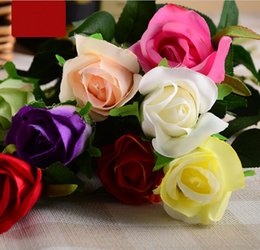 Wholesale Artificial flower simulation flower rose single rose flowers cross border hot sale wedding home decoration fake flower