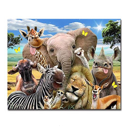 Painting home zebra online shopping - Animals DIY Painting By Numbers Craft Kits Coloring Elephant Lion Zebra Giraffe Deer Oil Pictures Hand Paint Drawing Home Decor SH190919