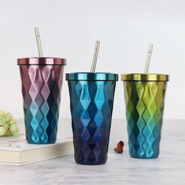 $enCountryForm.capitalKeyWord Australia - Diamond Gradient Stainless Steel Cups With Straws 500ml Drinking Tumblers Eco-Friendly Cups Dropshipping new 2019 hx0059
