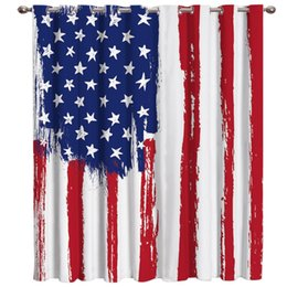curtain painting Australia - Hand-Painted, Graffiti-Style American Flag Window Treatments Curtains Valance Room Curtains Large Window Blackout Bathroom